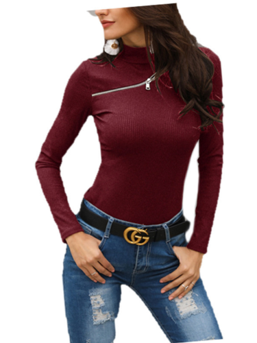 Women Zipper Long Sleeve Solid Casual Turtleneck Sweaters