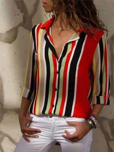 Shirt Collar Chiffon Striped Elegant Shirt