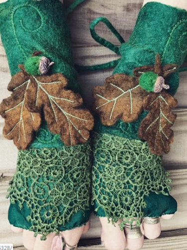 Green Vintage Cotton-Blend Gloves