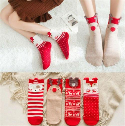 Christmas Socks Puppy Elk Fox Bear Santa Claus Gift Cotton Cartoon Keep Warm lady Socks