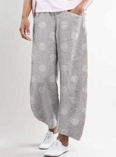 Dot Printed Pants Trousers Women Cotton Linen Wide Pants Elastic Waist Loose Pantalon Plus Size Pant