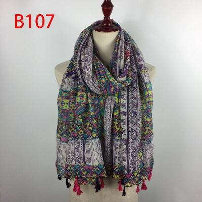 Fashionable Tribe Blue and White Porcelain Print Cotton and Linen Scarf Shawl Women Beach Ponch with Fringe Tassel