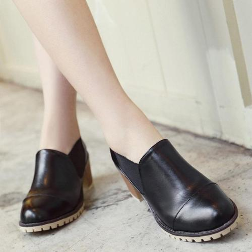 Women PU Booties Casual Comfort Chunky Heel Shoes