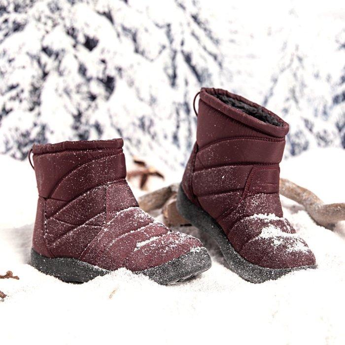 Purple Winter Elastic Band Cotton Boots