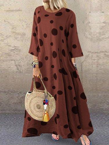 Cotton Round Neck 3/4 Sleeve Dresses