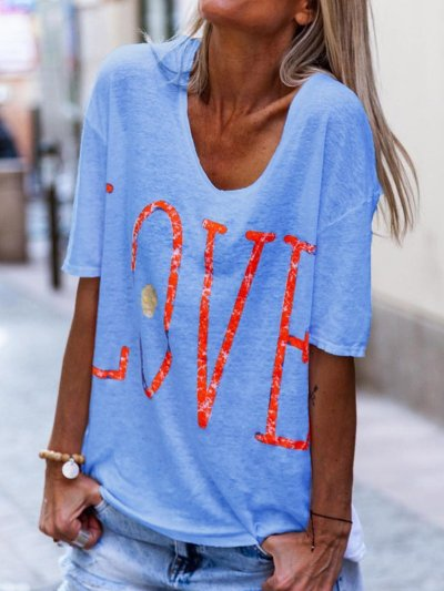 Love Print Round Neck Short Sleeves Casual T-Shirts