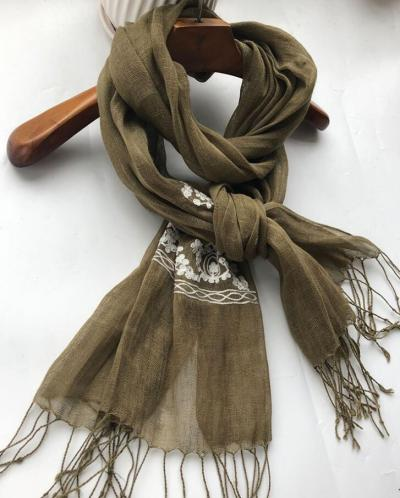 Japanese style free shipping embroidered 100% linen scarves ladies spring autumn travel sunscreen shawl ethnic style scarves