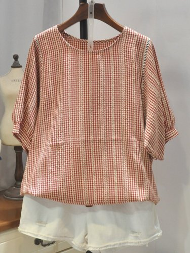 Casual Cotton Round Neck Shirts & Tops
