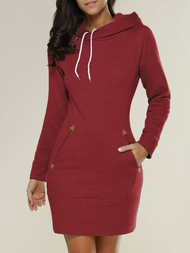 Plus Size Long Sleeve Plain Pockets Casual Solid Hoodies
