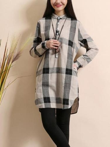 Long Sleeve Women Linen Cotton Plaid Casual Shirt