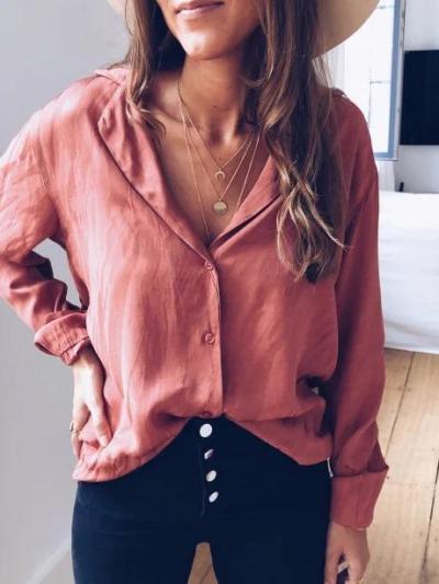 Shirt Collar Long Sleeve Shirts Blouses