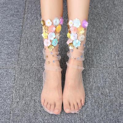 Mesh Transparent Fashion Floral Ladies Socks