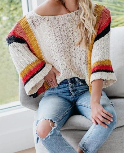 2020 Summer New Model Hollow Beach Shirt Stitching Knitted Rainbow Sweater