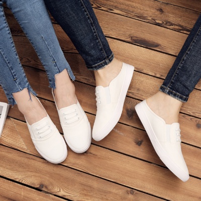 White Unisex Daily Spring/Fall Canvas Loafers
