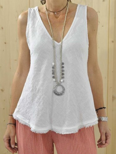 Plus Size Solid Casual V Neck Sleeveless Tops