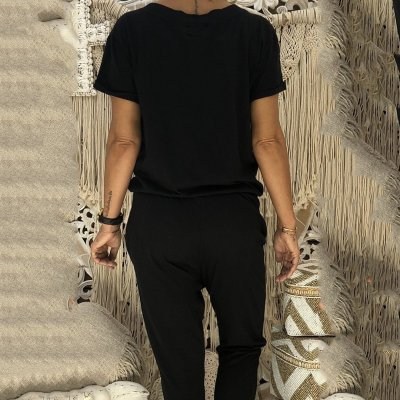 Casual Sport Pure Colour Short Sleeve Jumpsuits