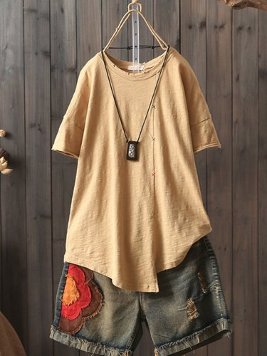 Solid Color Short Sleeve Crew Neck Overhead T-Shirt