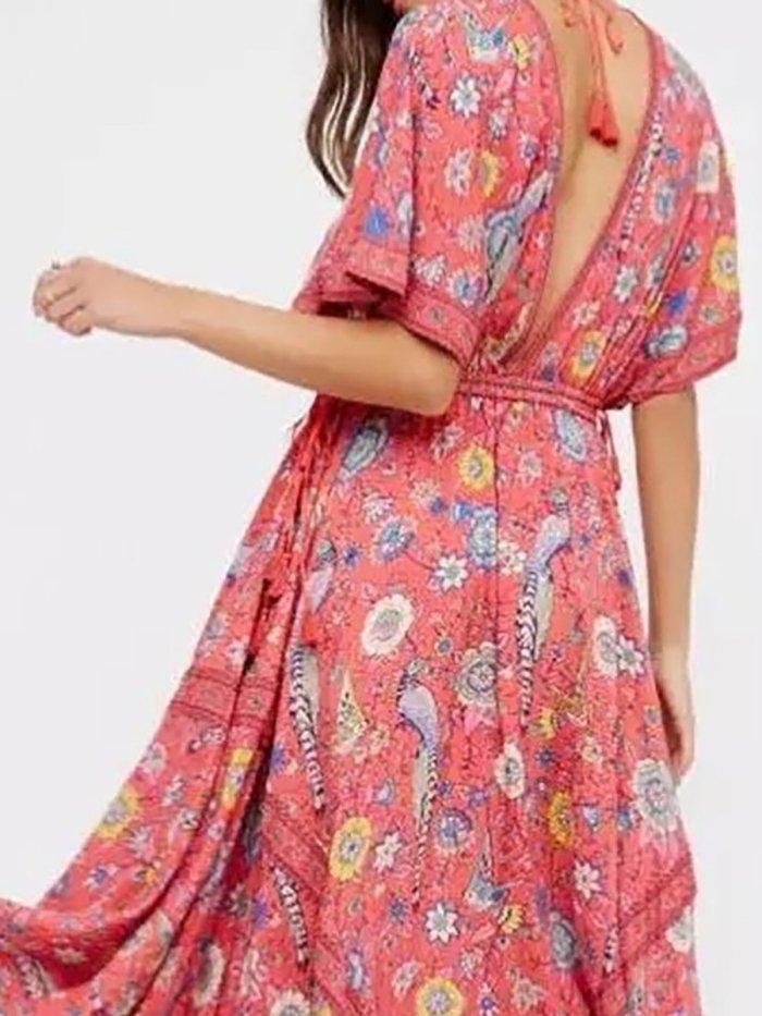 Boho Half Sleeve Chiffon Backless Vacation Dress