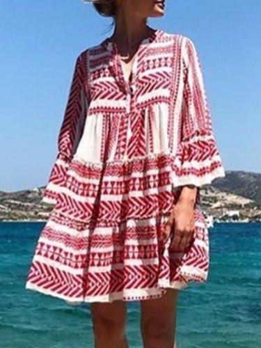 V neck Women Summer Dress Swing Bell Sleeve Tribal Mini Dress