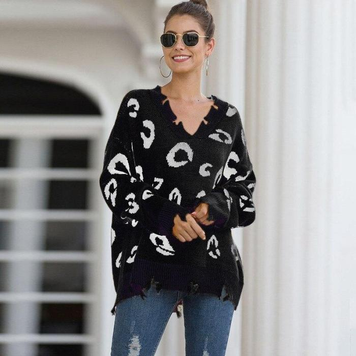 Autumn and Winter Leopard Pullover Sweater V-neck Ripped Sweater Women Long Sweater Sweaters  Winter Clothes