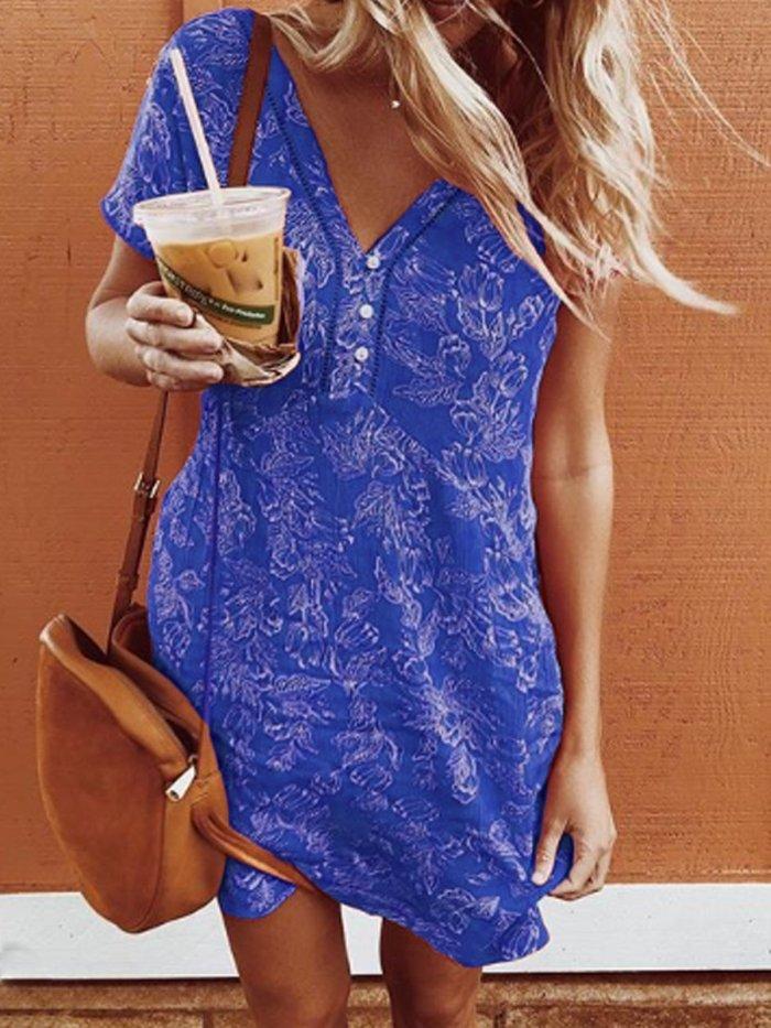 Cotton-Blend Short Sleeve Casual Patchwork Dresses