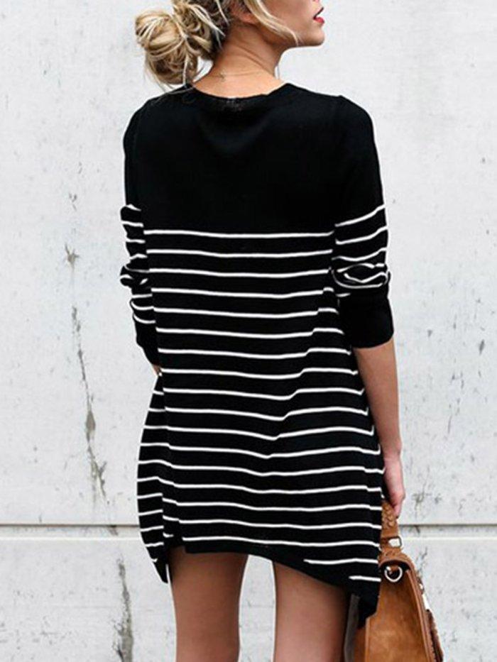 Cotton-blend Striped Casual Crew Neck T-Shirt