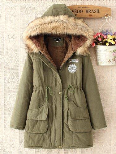Fleece-lined Long Sleeve Casual Hoodie Pockets Coat