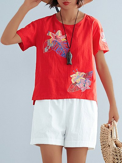 Plus Size  Cotton And Linen Embroidered Solid  Loose  Casual   Top