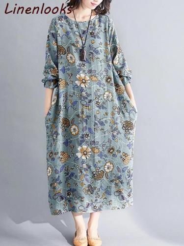 Autumn cotton linen vintage floral long sleeve women loose dress