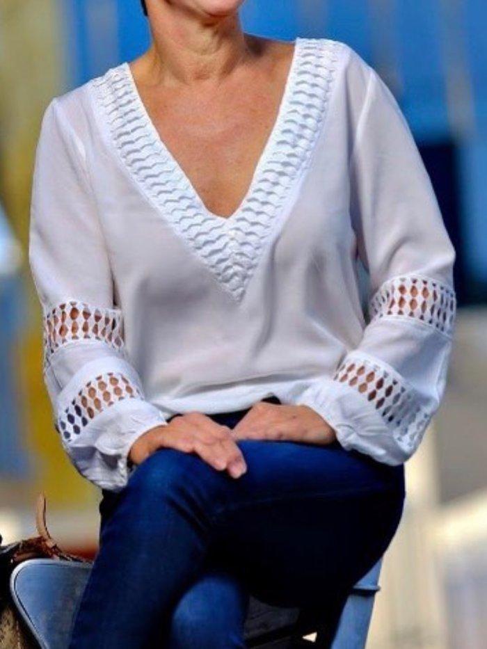 White Long Sleeve V Neck Shirts & Tops