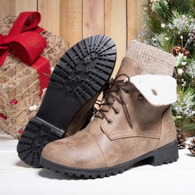 Women Warm Martin Booties Casual Comfort Plus Size Lace Up Shoes