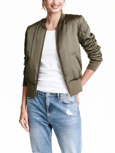 Casual Stand Collar pockets Zipper Bomber Jacket