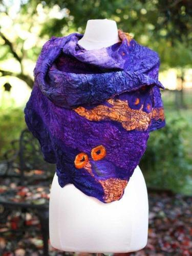 Purple Cotton-Blend Vintage Scarves
