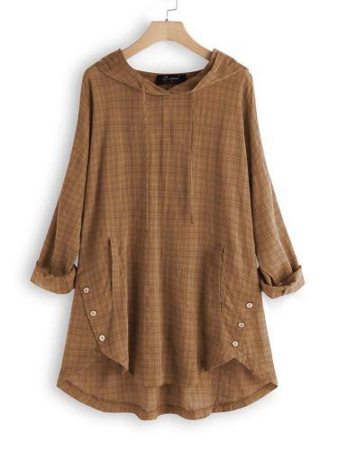 Plus Size Casual Cotton Long Sleeve Vintage Plaid Tops
