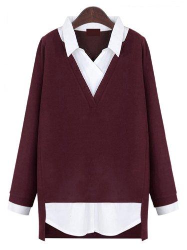 Long Sleeve Color-Block Casual Plus Size Blouse
