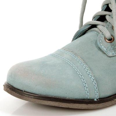 Women PU Booties Casual Comfort Lace Up Shoes