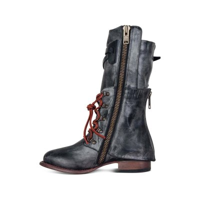 Vintage Women Lace-up Boots Adjustable Buckle Faux Leather Low Heel Boots