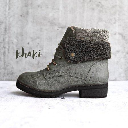 Winter Handmade Leather Knit Sweater Cuff Ankle Boots