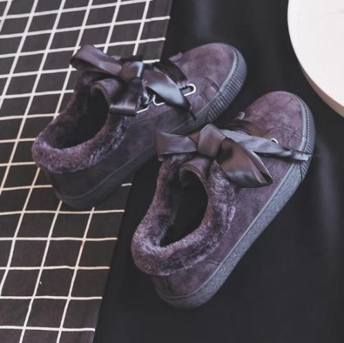 Women Warm Plush Flat Heel Lace-up Athletic Winter Boots