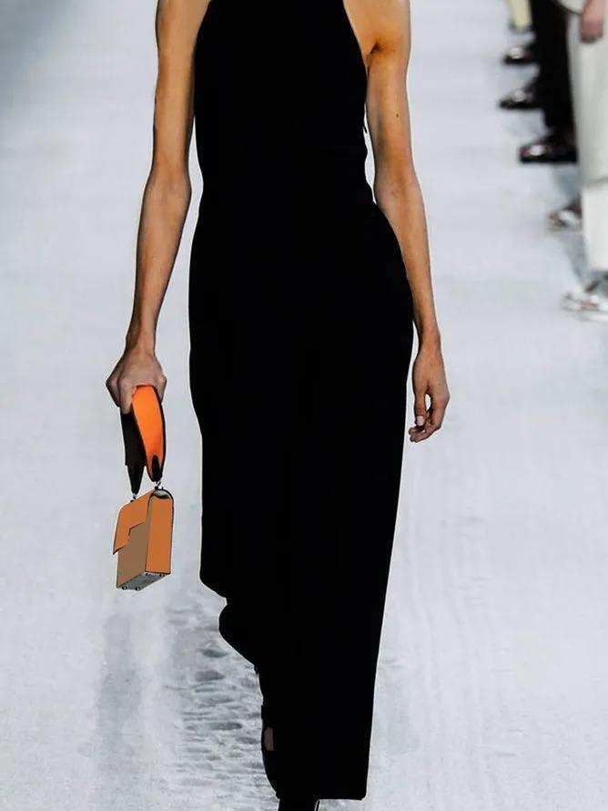 Plus Size Sleeveless Cotton-Blend V Neck Plain Dresses