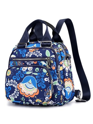 Floral Nylon Zipper Backpacks Crossbody Bags