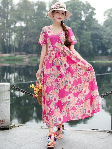 Ethnic-Style Large Size Printed Long Dress