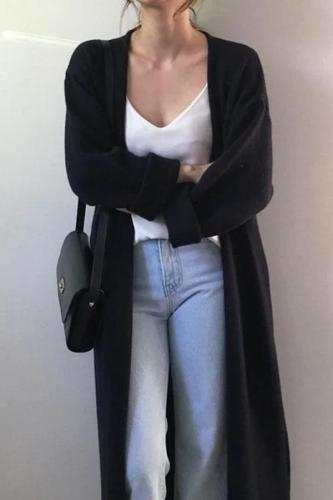 Fashion Frenulum Long Knitted Sweater Cardigan Coat