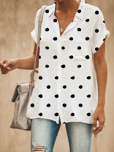 Women Casual Relaxed Fit Polka Dots Button Down Shirt