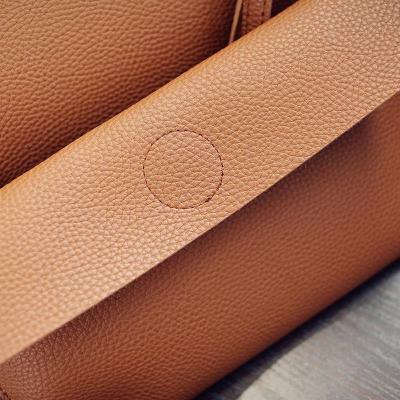 Women 2PCS High Capacity  PU Shoulder Bag with Mini Clutch Purse