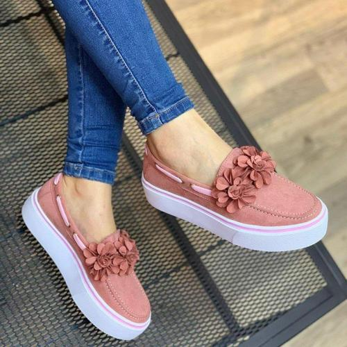 Flower Suede Slip-on Sneakers