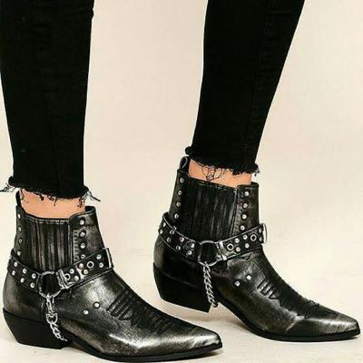 Black Rivet Fall Casual Chunky Heel Pu Boots