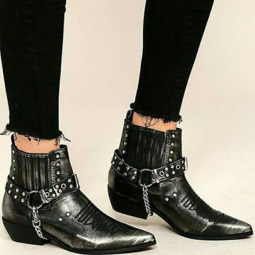 Black Rivet Fall Casual Chunky Heel Pu Boots