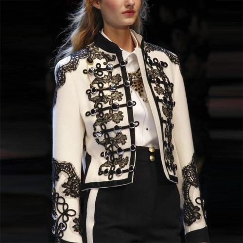 Elegant Stand Collar Inwrought Splicing Button Blazer