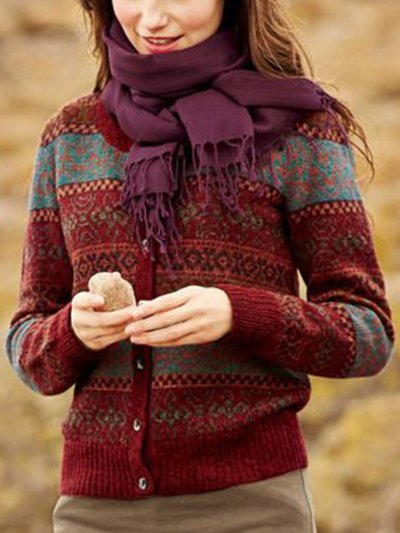 Buttoned Tribal Long Sleeve Cardigan